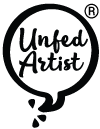 "Words ""Unfed Artist"" inside a word balloon"