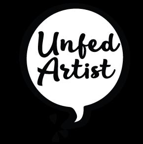 "Words ""Unfed Artist"" inside a word balloon"
